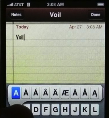 Photo of iOS onscreen keyboard, showing the letter A pressed and the accents from which to choose.