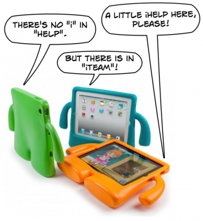 iTeam cartoon based on SpeckProducts iGuy cases for iPad