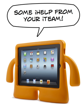 iTeam Mascot (Speck iGuy case) offering iPad Help