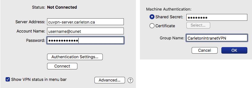 Screenshot of VPN configuration