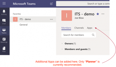Planner can be added to Teams as a Tab