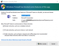 Windows 10 firewall warning for 1st launch of Teams