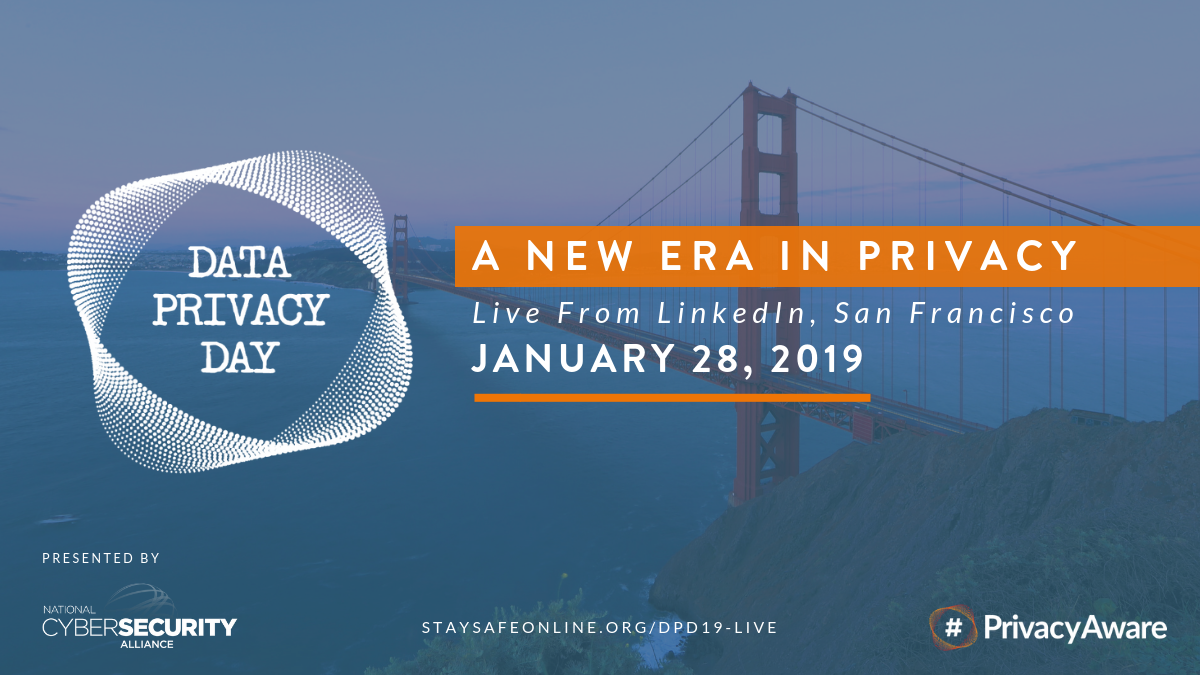 Text on image of golden gate bridge reads: Data Privacy Day, A new Era in dprivacy live from linked in san francisco