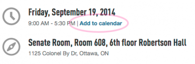 "events.carleton screenshot showing ""Add to calendar"" link"