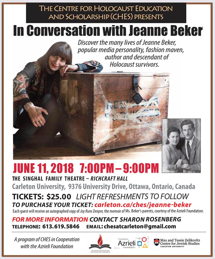 Poster for Jeanne Beker event