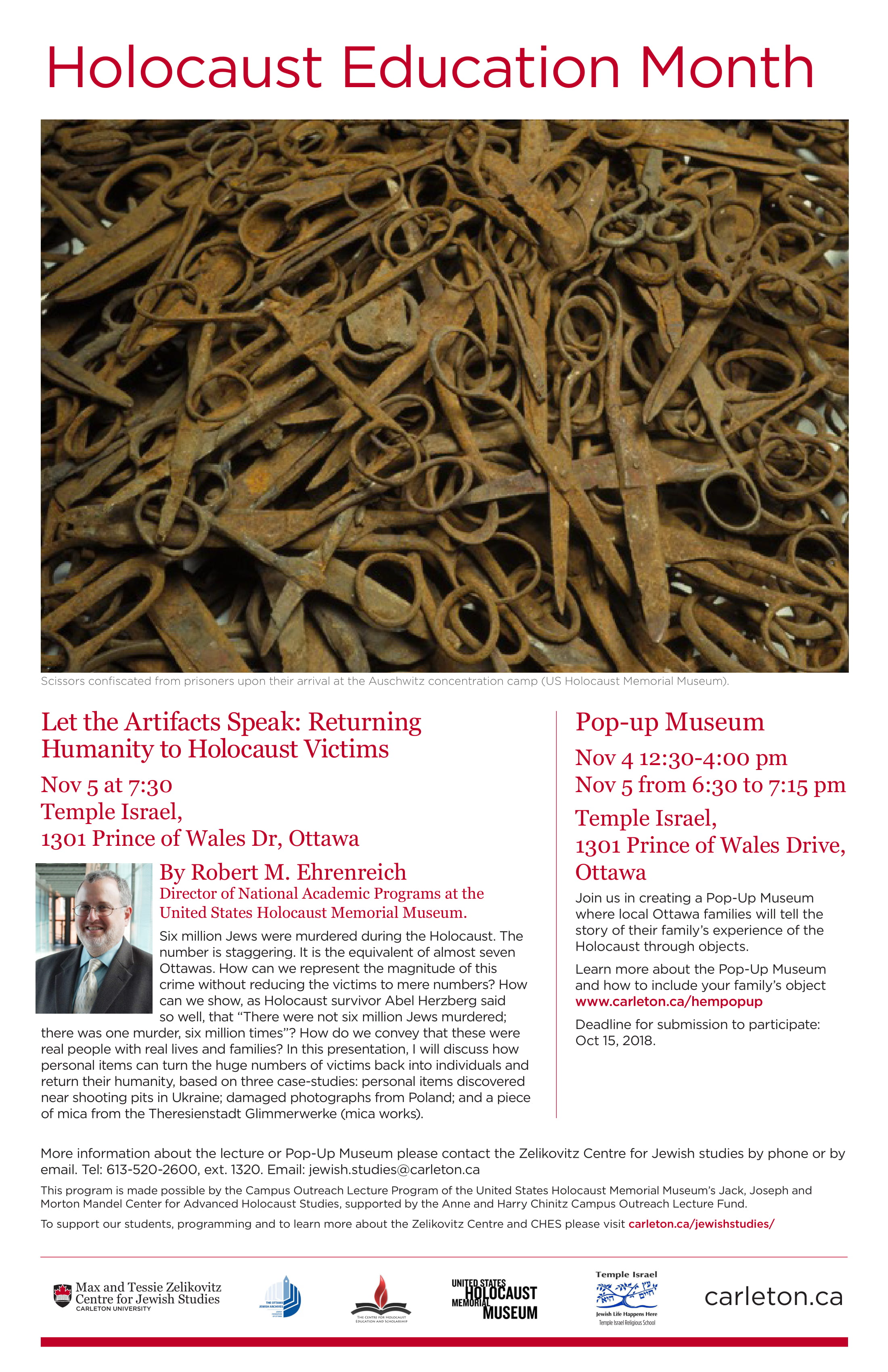 A poster of the Zelikovitz Centre's Holocaust Education Month event on November 7, 2018 with Dr. Ehrenreich and Pop-up museum