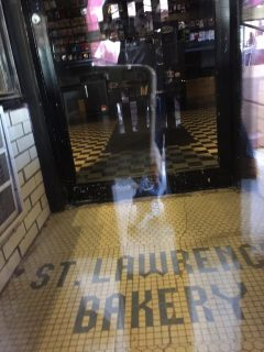 The St. Lawrence Bakery is no longer open, but the floor has been kept intact by subsequent tenants as a reminder of the landmark Jewish bakery.