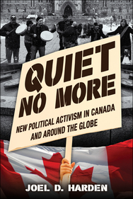 Book cover image_black and white photo of marchers above a Canadian flag