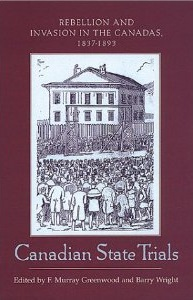 Book cover image_illustration of court house with large crowd, surrounded by maroon border