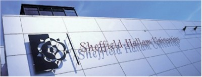 Sheffield Hallam university logo on the side of a building