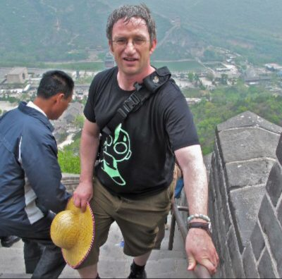 Mike on the stairs up the Great Wall