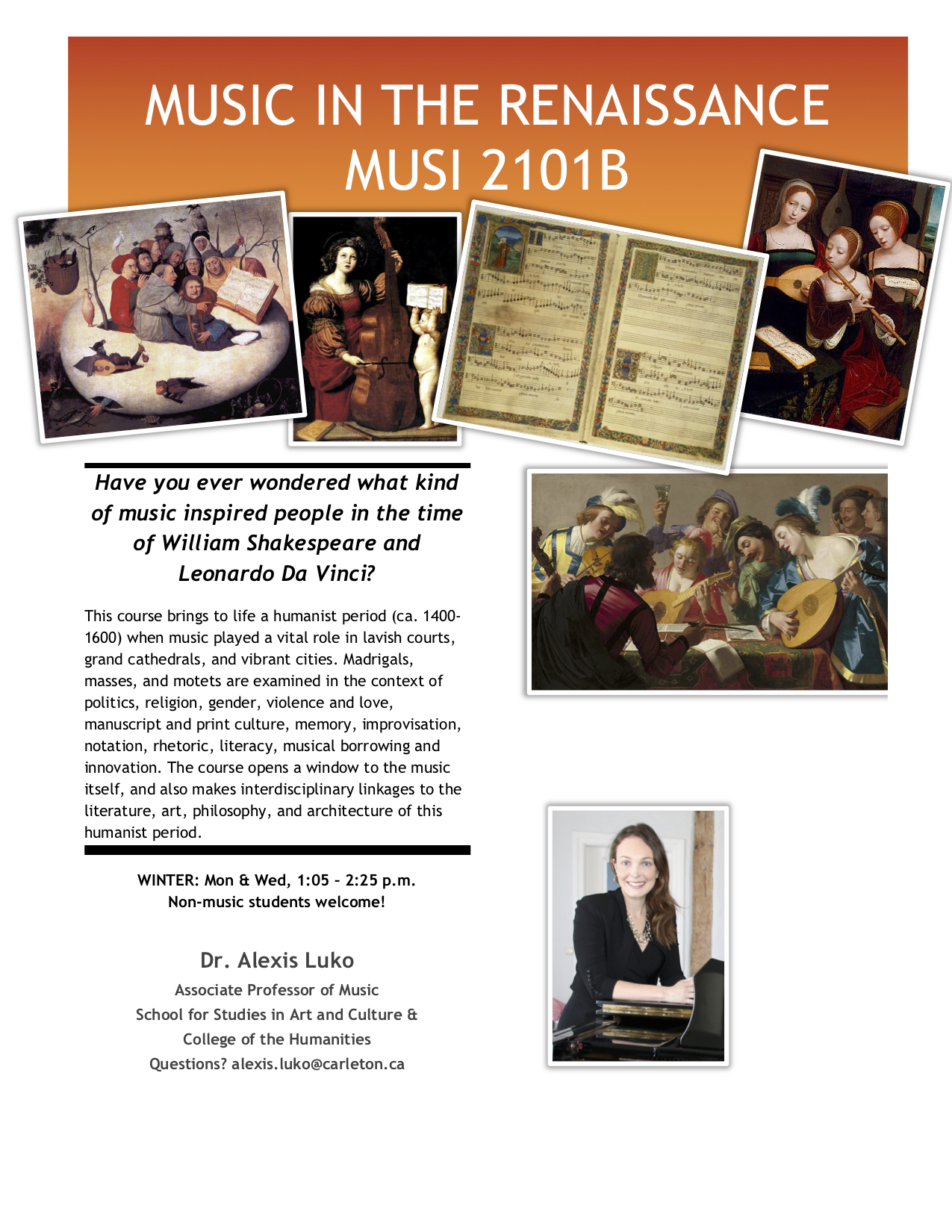 Poster for syllabus for MUSI 2101B - Music in the Renaissance