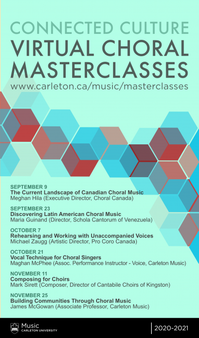 Poster for the Connected Culture Virtual Choral Masterclass series in Fall 2020