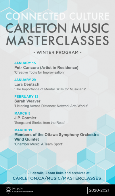 Poster for Connected Culture Virtual Masterclasses, Winter Program 2021