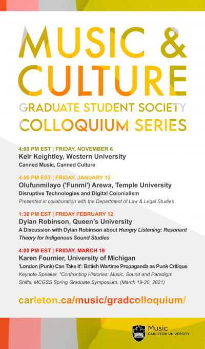 Poster for the Music & Culture Graduate Student Society Colloquium Series, 2020-21