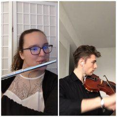 Kiara and Simon working remotely for Chamber Music Ensemble
