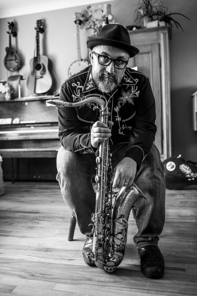 Petr Cancura with saxophone