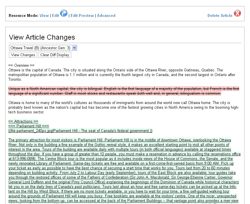 "An example of the ""Article Changes"" viewing in P2Pedia. A selection is provided for all ancestors of the article being viewed, and a colored difference visualization is dynamically generated upon selection"