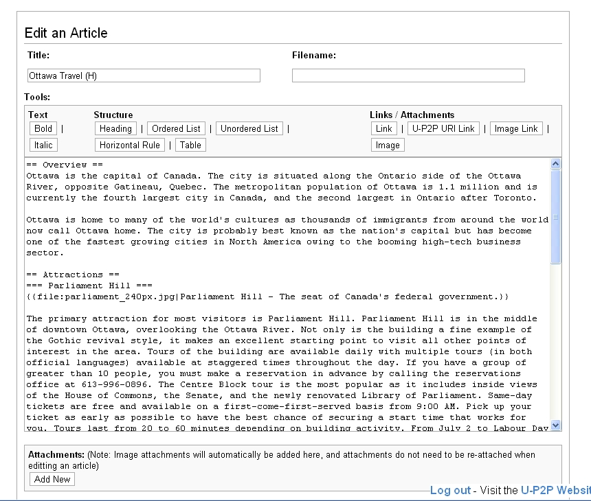 An example of the P2Pedia article editing / creation widget.