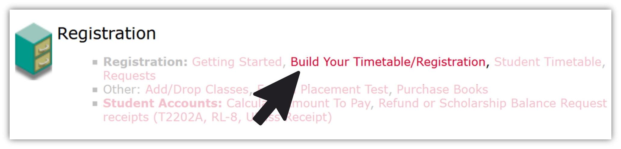 Where to go in Carleton Central to build your timetable and register for courses