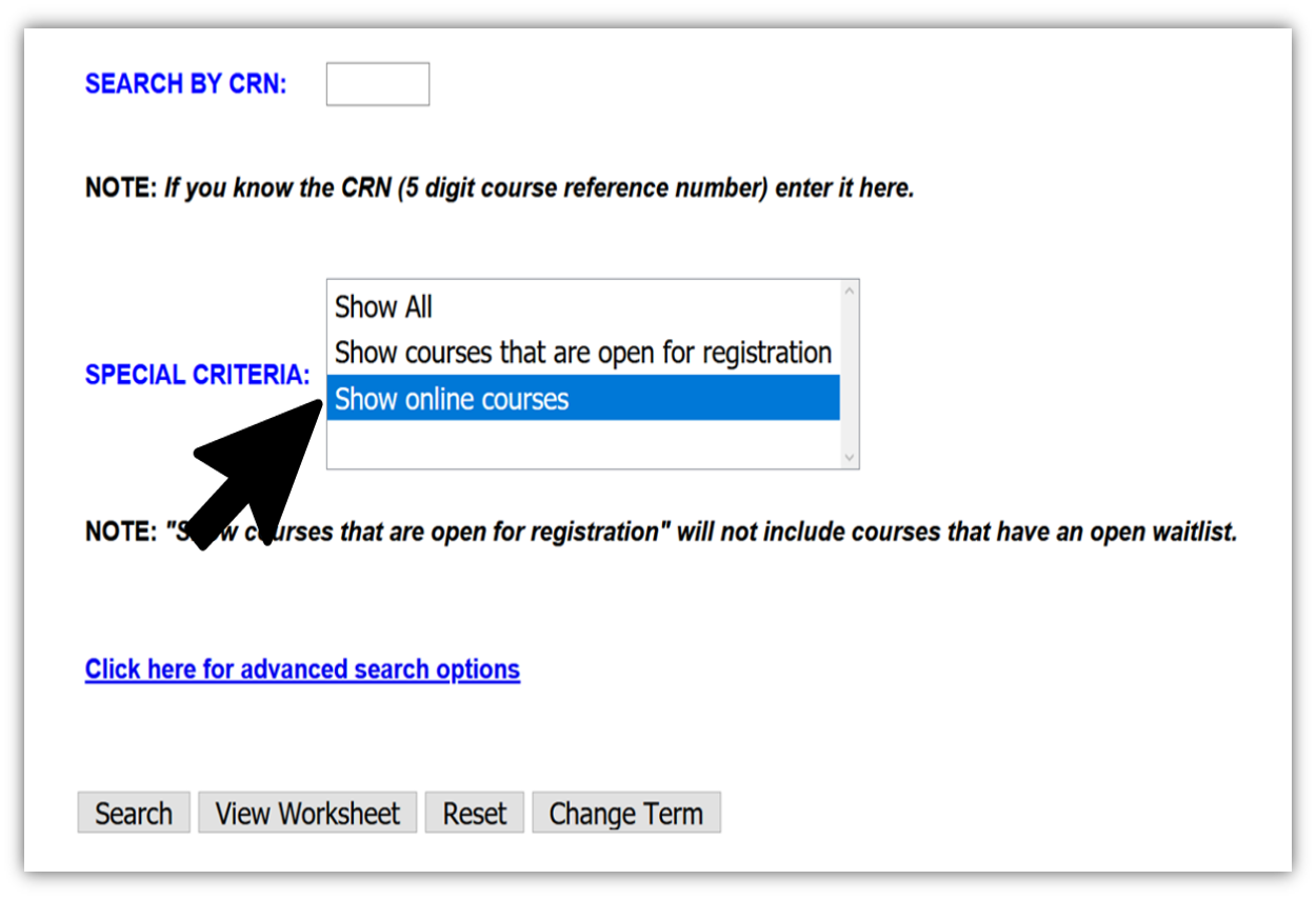 Location of special criteria field on search for courses page