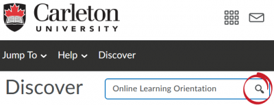 Searching 'Online Learning Orientation' in the search bar