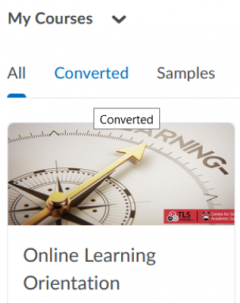 Online Learning Orientation available under my courses section