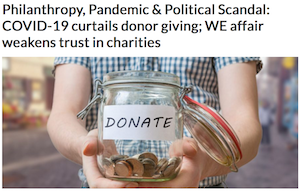 From the Angus Reid Institute (September 17, 2020): At a time when Canadians say they need more services and help, the Institute's public opinion survey reports that COVID-19 has curtailed donor giving and the WE affair has weakened trust in charities. Donors are giving less than they were before the pandemic. Many are donating to smaller, local charities more, as opposed to larger, national organizations.