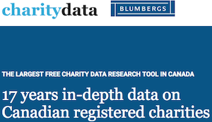 As part of the Sean Blumberg Transparency Project, Blumbergs Charity Law maintains a searchable research tool for Canadian charities' annual tax filings. The search function allows users to select based on size (in revenue), location, and other categories. It provides visualizations of some top-line financials, historic data, gifts received and made, and searchable trustee data for Canadian charities. Perhaps most importantly, this database includes up to 17 years of data per organization, allowing users to examine organizations' financial histories and providing data beyond the five years currently available through the charities listing of the Canada Revenue Agency.