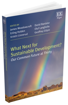 A photo of a book entitled What Next for Sustainable Development? Our Common Future at Thirty. Edited by James Meadowcroft, Erling Holden, Kristin Linnerud, David Banister, Oluf Langhelle, and Geoffrey Gilpin.
