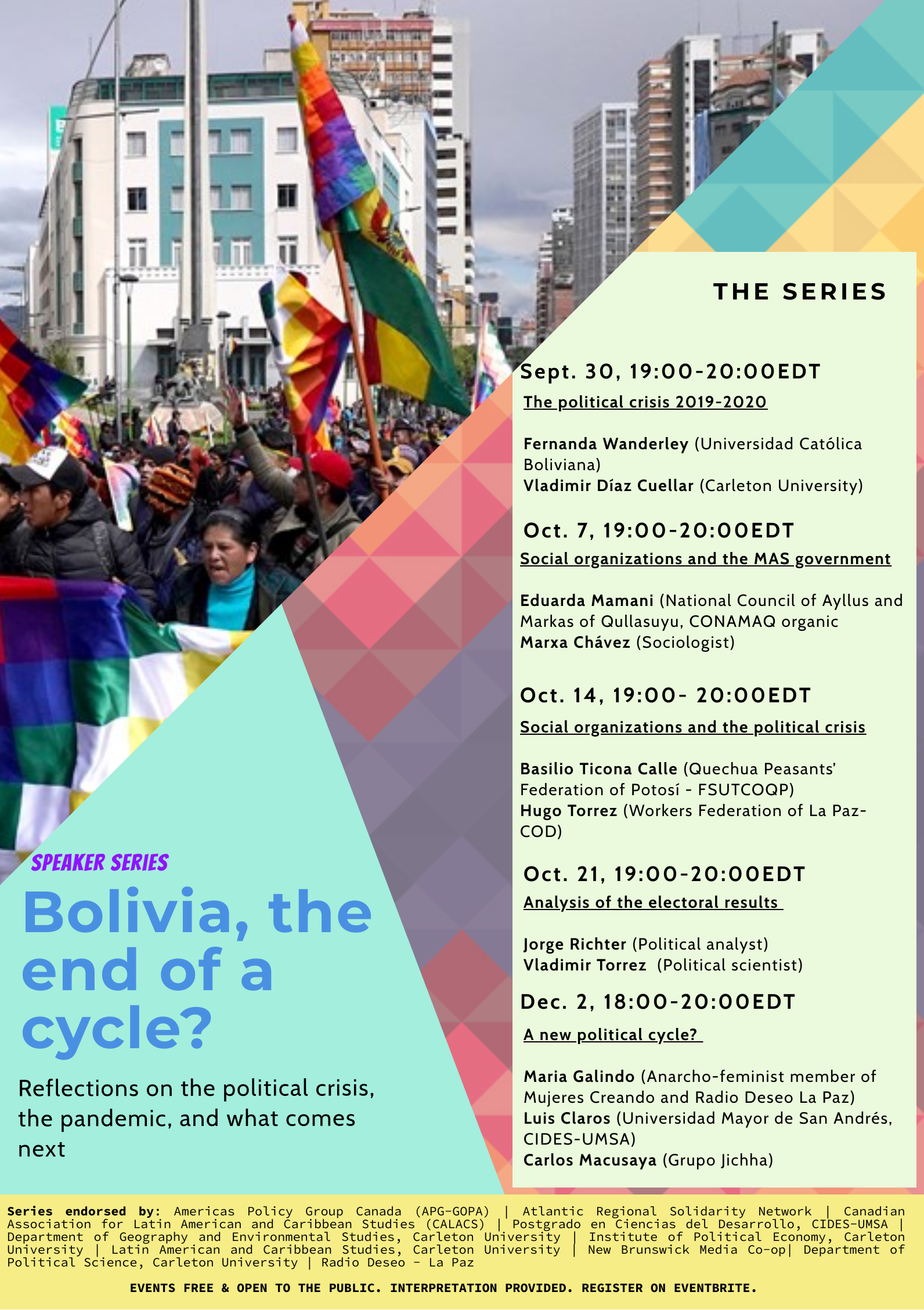 Poster for series with bright colours and an image of people marching through the streets bearing flags on the left side; with a list of the individual events, dates and guest speakers listed on the right. Small print at the bottom lists those endorsing the event. (please see text below).