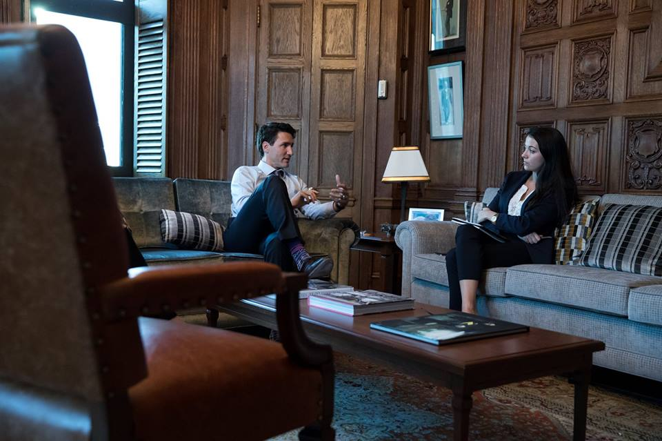 Political Management Alumni, Brittany Perreault, with Prime Minister Justin Trudeau