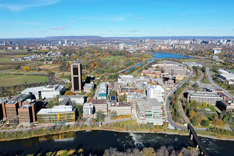 An aerial view of the Carleton University campus.