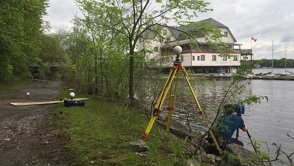 Doing digital documentation work at the Ottawa River Boathouse.