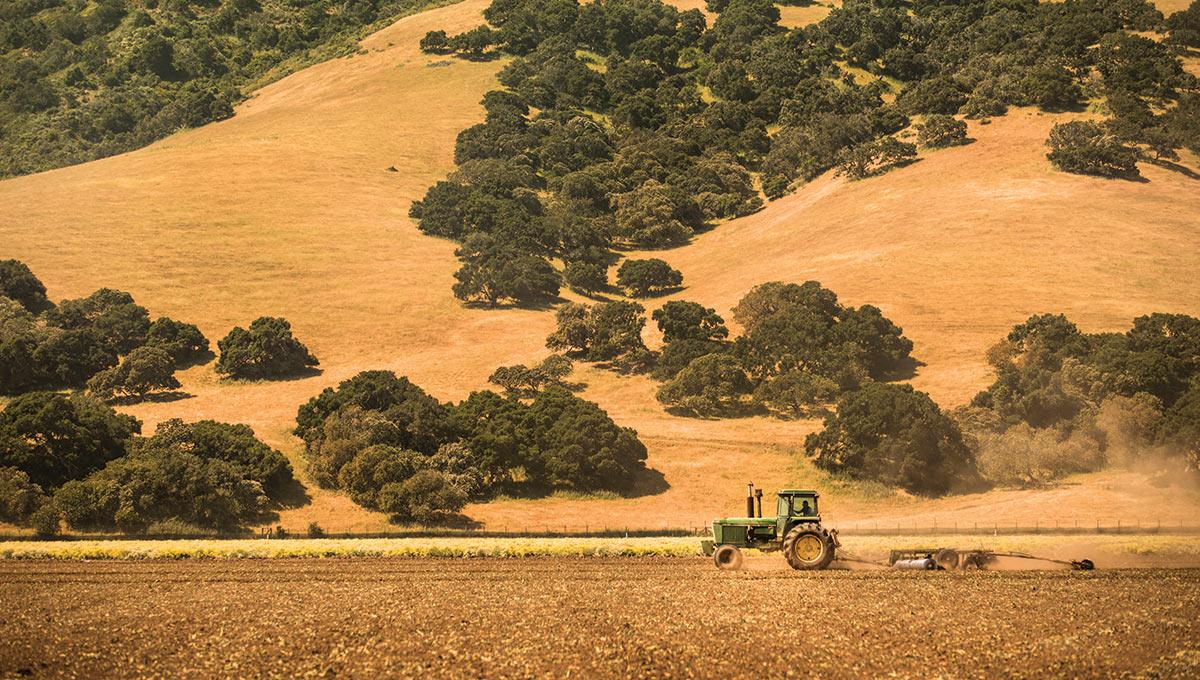Tractor machine plows the fertile farm in Salinas Valley, California.