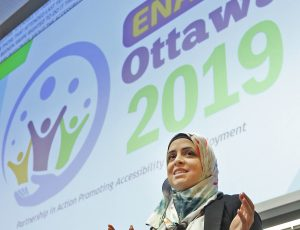 Zahra Mohammad of Kinova Robotics, emcee for the Enable 2019 Event
