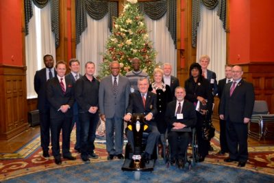 December 2012 Golding Rehabilitation Centre Meeting. In the photo are: Their Honours, David and Ruth Onley, Anthony Hylton, Mark Wafer, Tim Hortons, Deni Jankovic, Brendan Caldwell, Dean Mellway, Royson James, Consul General Dr. George Ramocan & Dr. Lola Ramocan, Dr. Geoff Fernie and Joe Dale.