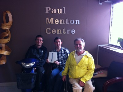 Planat contest winner Daniel Stewart displays his new ipad