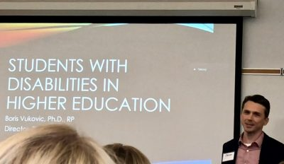 "Boris Vukovic beginning his presentation, entitled ""Students with disabilities in higher education"""