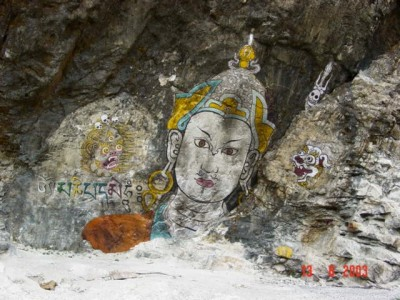 Rock painting in Bhutan