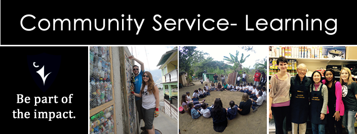 Community service-learning: be part of the impact. Raven logo and three pictures of students working on CSL initiatives.