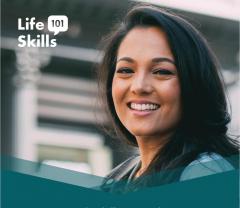 Photo of Komal Minhas with the Life Skills 101 logo