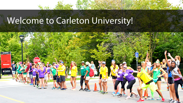 Students in a row outside; with text: Welcome to Carleton University!