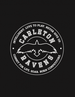"CU Spirit Day Logo, which is is of a Raven surrounded my text that reads ""Carleton Ravens - intelligent. love to play. never give up. commit for life. soar. born competitors."""