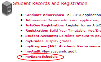 How to get to the personalized exam schedule in Carleton Central.