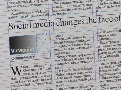 Magazine page layout software