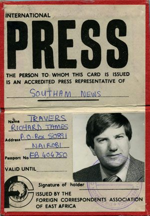 Richard James Travers International Press accreditation card