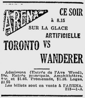 The tell-tale advertisement from Montreal's Le Canada, indicating an 8:15 p.m. start time for the NHL's first game on Dec. 19, 1917.