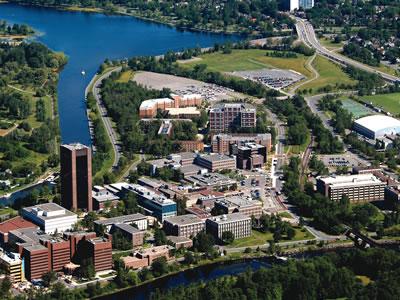 Aerial shot of the Carleton campus