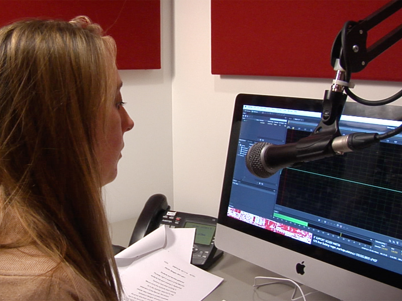 Student working on an audio recording